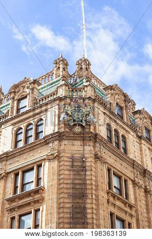 LONDON UNITED KINGDOM - JUNE 23 2017: Harrods luxury department store on Brompton Road. 7-storey building built in 1905 has 330 departments covering 90000 m2 of retail space