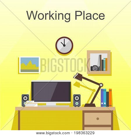 Working place or studying place illustration. Flat design illustration concepts for working place at office working place at home. workspace, workplace, studying place.