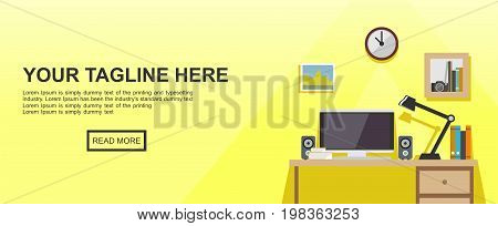 Banner illustration of working place at office or home. Work space workplace studying place.