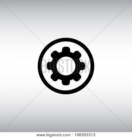 Cogwheel isolated vector sign. Cogwheel flat vector icon. Settings menu round button vector illustration.