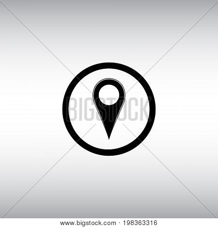 Geolocation flat vector sign. Map location round vector icon. Isolated geo location vector illustration.