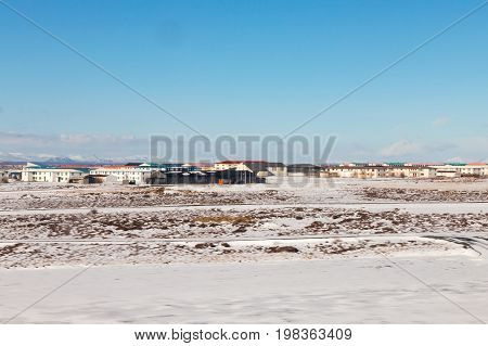 Iceland small village in winter season with clear blue sky background
