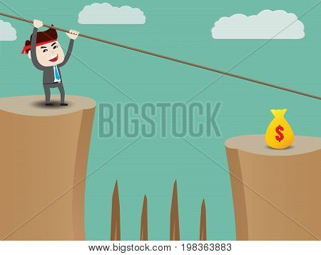 Businessman rope over cliff to money, business concept, vector illustration