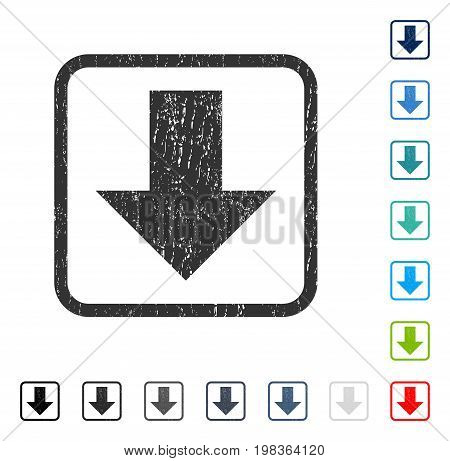 Arrow Down rubber watermark in some color versions.. Vector icon symbol inside rounded rectangular frame with grunge design and dust texture. Stamp seal illustration, unclean emblem.