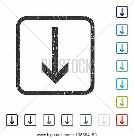 Arrow Down rubber watermark in some color versions.. Vector icon symbol inside rounded rectangle with grunge design and scratched texture. Stamp seal illustration, unclean emblem.