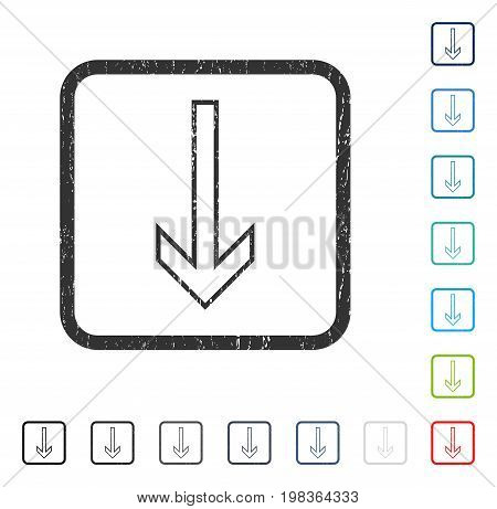 Arrow Down rubber watermark in some color versions.. Vector pictogram symbol inside rounded rectangle with grunge design and unclean texture. Stamp seal illustration, unclean sticker.