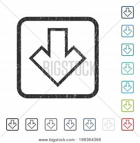 Arrow Down rubber watermark in some color versions.. Vector pictogram symbol inside rounded rectangular frame with grunge design and scratched texture. Stamp seal illustration, unclean sticker.