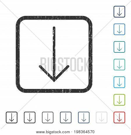 Arrow Down rubber watermark in some color versions.. Vector pictogram symbol inside rounded rectangle with grunge design and dust texture. Stamp seal illustration, unclean sign.