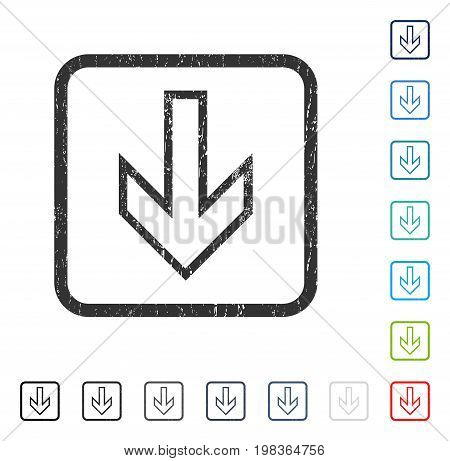 Arrow Down rubber watermark in some color versions.. Vector icon symbol inside rounded rectangle with grunge design and dirty texture. Stamp seal illustration, unclean emblem.