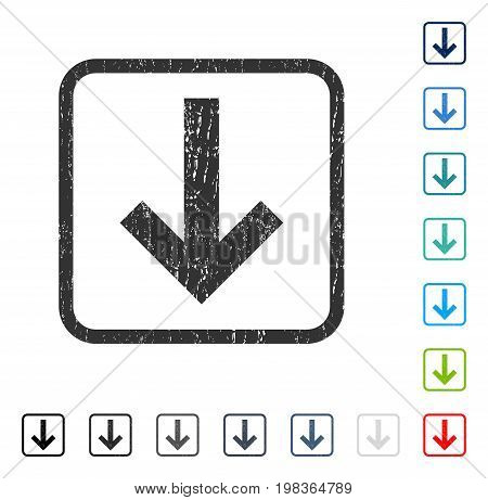 Arrow Down rubber watermark in some color versions.. Vector icon symbol inside rounded rectangular frame with grunge design and unclean texture. Stamp seal illustration, unclean sign.