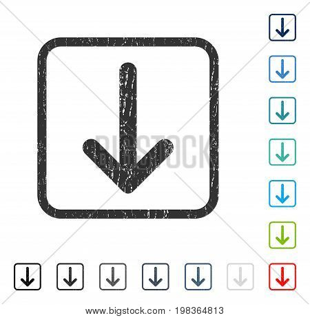 Arrow Down rubber watermark in some color versions.. Vector icon symbol inside rounded rectangular frame with grunge design and dirty texture. Stamp seal illustration, unclean sign.