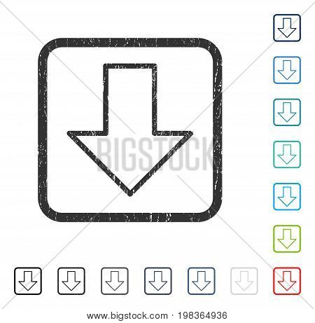 Arrow Down rubber watermark in some color versions.. Vector icon symbol inside rounded rectangular frame with grunge design and scratched texture. Stamp seal illustration, unclean emblem.