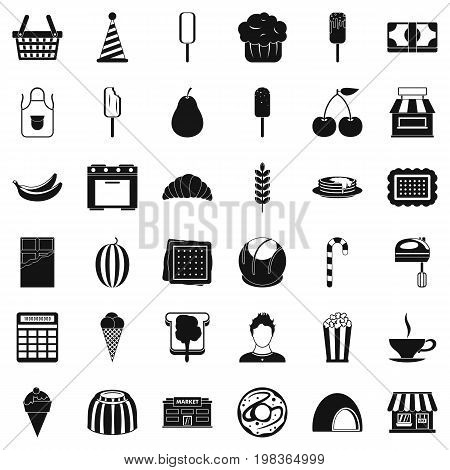 Dessert icons set. Simple style of 36 dessert vector icons for web isolated on white background