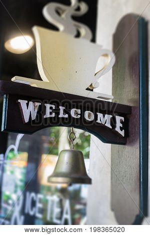 Coffee shop welcome bell vintage style stock photo