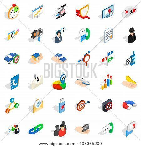Progress icons set. Isometric style of 36 progress vector icons for web isolated on white background