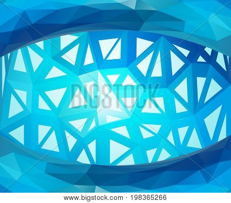 Blue luminous triangle background. Shining and contemporary vector illustration