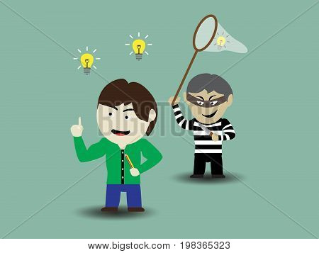 Criminals are stealing ideas, cartoon concept. Vector illustration