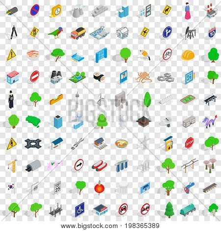 100 bridge icons set in isometric 3d style for any design vector illustration