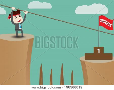 Businessman rope over cliff to podium, business concept, vector illustration
