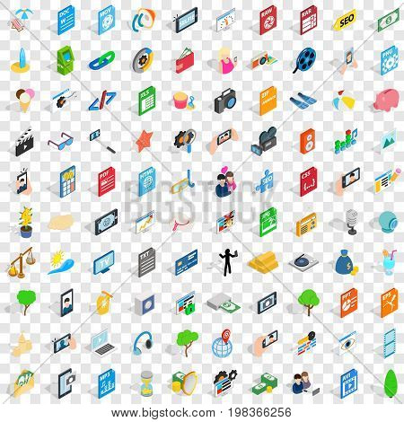 100 camera icons set in isometric 3d style for any design vector illustration