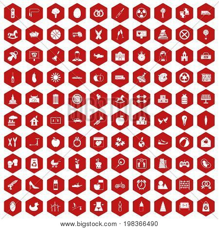 100 maternity leave icons set in red hexagon isolated vector illustration