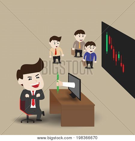 Businessmen get money from monitor, business concept, vector illustration