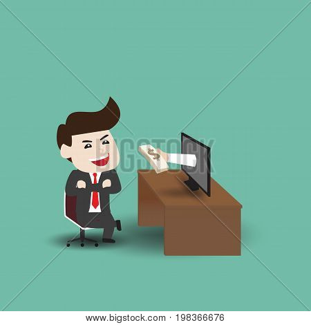 Businessman get money from monitor, business concept, vector illustration