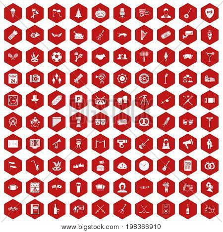 100 meeting icons set in red hexagon isolated vector illustration