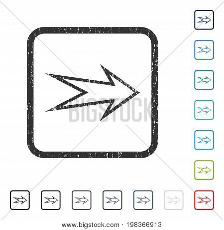 Arrow Right rubber watermark in some color versions.. Vector icon symbol inside rounded rectangular frame with grunge design and unclean texture. Stamp seal illustration, unclean emblem.