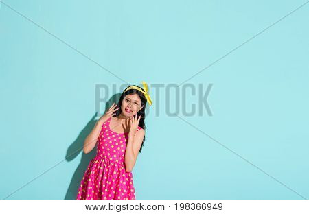 Smiling Girl Wearing With Yellow Bow Tie Headband