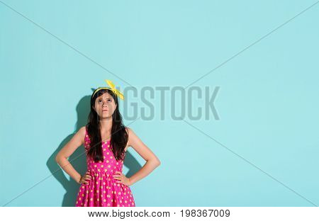 Pretty Woman Wearing A Lovely Dress Showing Angry