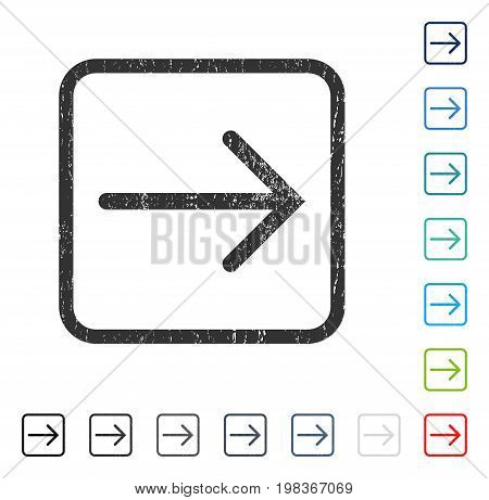 Arrow Right rubber watermark in some color versions.. Vector icon symbol inside rounded rectangular frame with grunge design and dirty texture. Stamp seal illustration, unclean sign.
