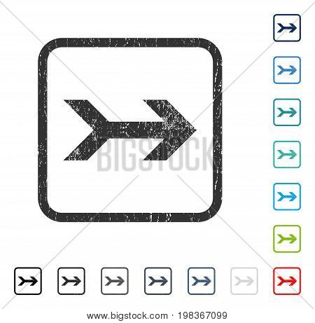 Arrow Right rubber watermark in some color versions.. Vector icon symbol inside rounded rectangular frame with grunge design and scratched texture. Stamp seal illustration, unclean sticker.