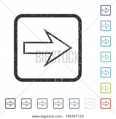 Arrow Right rubber watermark in some color versions.. Vector icon symbol inside rounded rectangular frame with grunge design and dirty texture. Stamp seal illustration, unclean emblem.