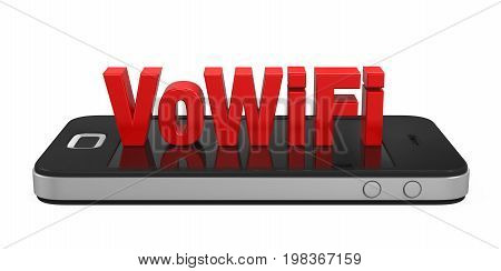 Voice over WiFi Sign on Mobile Phone isolated on white background. 3D render