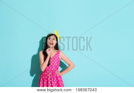 Happy Pretty Woman Wearing Cute Dress Clothing