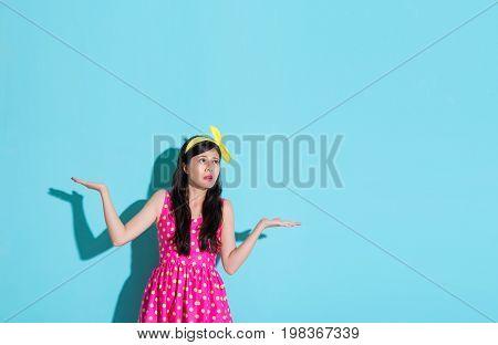 Unhappy Pretty Woman Making Choosing Posing