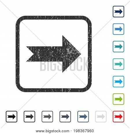 Arrow Right rubber watermark in some color versions.. Vector icon symbol inside rounded rectangular frame with grunge design and dust texture. Stamp seal illustration, unclean sign.