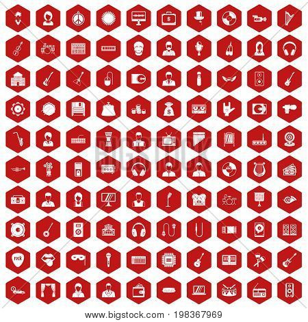 100 music icons set in red hexagon isolated vector illustration