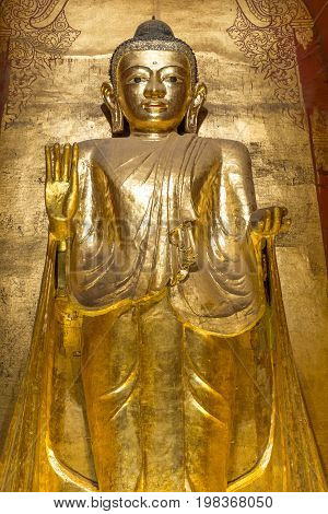 Buddha image inside Ananda temple Bagan Myanmar.