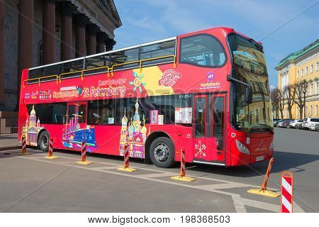 SAINT PETERSBURG, RUSSIA - APRIL 10, 2017: City shuttle double-decker tour bus