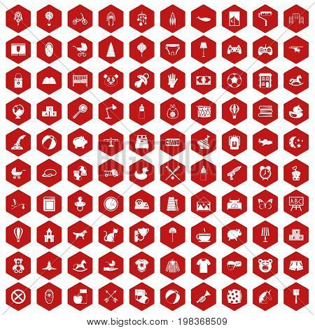 100 nursery icons set in red hexagon isolated vector illustration