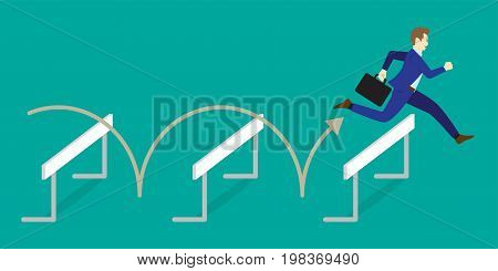 Business Concept As A Full-Energy Businessman Is Jumping Over The Hurdles. It Means Performing The Best Effort To Overcome Variety Of Obstacles Barriers And Difficulties In Order To Achieve The Target.