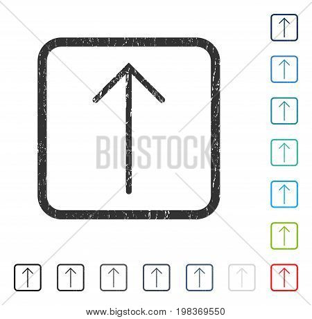 Arrow Up rubber watermark in some color versions.. Vector icon symbol inside rounded rectangle with grunge design and unclean texture. Stamp seal illustration, unclean sticker.