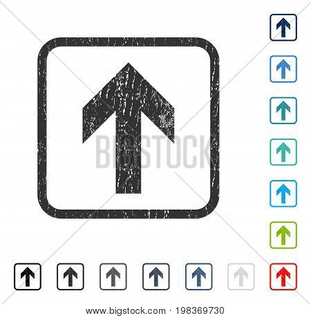 Arrow Up rubber watermark in some color versions.. Vector icon symbol inside rounded rectangle with grunge design and scratched texture. Stamp seal illustration, unclean sticker.