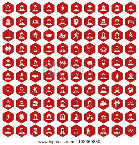 100 people icons set in red hexagon isolated vector illustration