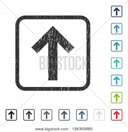 Arrow Up rubber watermark in some color versions.. Vector icon symbol inside rounded rectangle with grunge design and dust texture. Stamp seal illustration, unclean sticker.