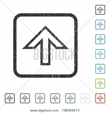 Arrow Up rubber watermark in some color versions.. Vector icon symbol inside rounded rectangular frame with grunge design and dirty texture. Stamp seal illustration, unclean sticker.