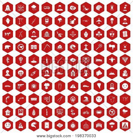 100 phobias icons set in red hexagon isolated vector illustration