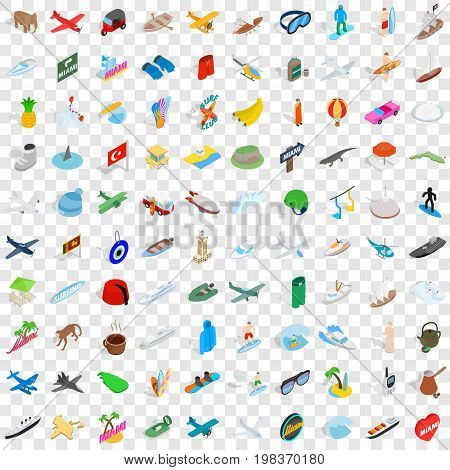 100 experience icons set in isometric 3d style for any design vector illustration